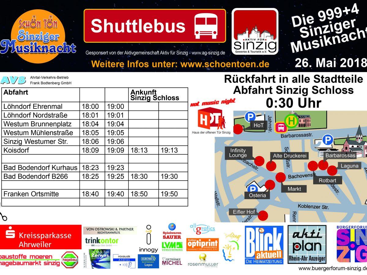 Der Shuttlebus-Fahrplan